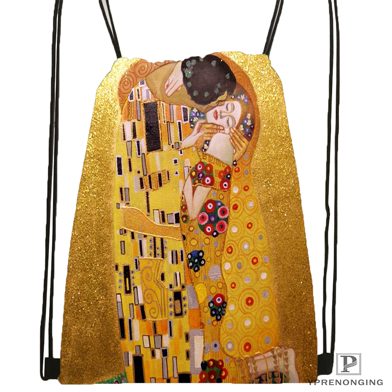 Custom Gustav Klimt Drawstring Backpack Bag Cute Daypack Kids Satchel (Black Back) 31x40cm#180531-03-15