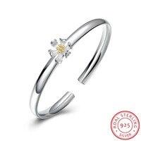 Free Shipping Pure 925 Sterling Silver Charm Bangles Lotus Flower Bracelets Jewelry Srebrna Bransoletka Pulsera De