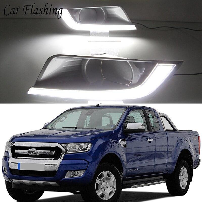 Car Flashing 1 Set Car LED Daytime Running Lights DRL For Ford Ranger 2015 2016 2017