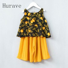 Hurave 2017 Baby Girls Dress Casual Stye Pattern Print Kids Sets Vest Pants 2PC Suits For
