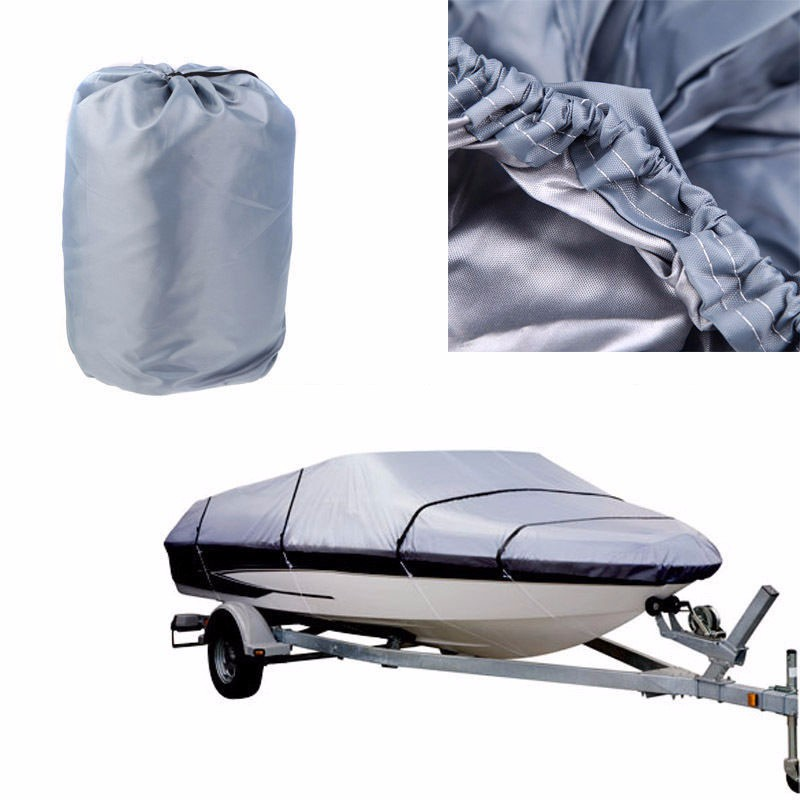 High Quality 17-19ft 600D Waterproof Boat Cover with Storage Bag Blue//Gray US