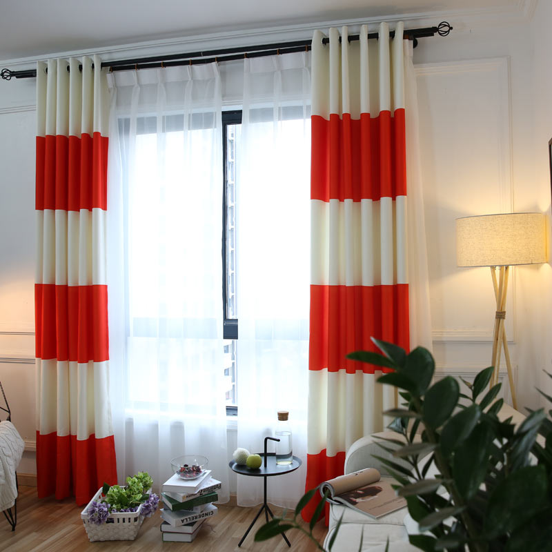 Orange White Splicing Striped High Shading Blackout Curtains For The Bedroom Cotton Linen Modern Curtain For