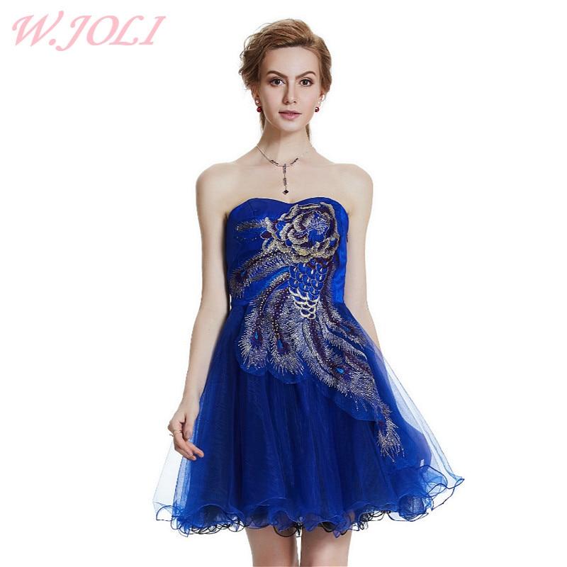 W.JOLI New Peacock Flower Pattern Short Strapless Evening Dress 2017 Bride Banquet Elegant Wedding Bridesmaid Party Prom Dresses