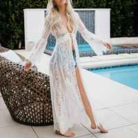 Lace Beach Cover Up Swimsuit Long Dress Transparent Cardigan Long Sleeve Swimwear Summer Hot Ladieswear Beachwear 2019Cover-ups