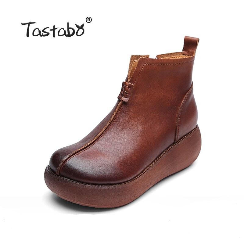 Tastabo buty na platformie kobiety, ręcznie robiony, czarny, Martin buty damskie wygodne płaskie buty buty do kostki ze skóry naturalnej dla kobiet w Buty do kostki od Buty na  Grupa 2