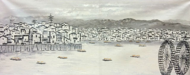 Handpainted Putih Dan Hitam Cina Suzhou Air Desa Landscape Kanvas