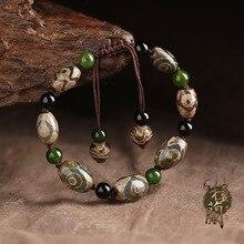 Непал Оригинал Три Глаз Дзи с Черный Камень Spacer Браслет Старинные Этнические Sytle Тибет Браслет Красивый Браслет для Женщин