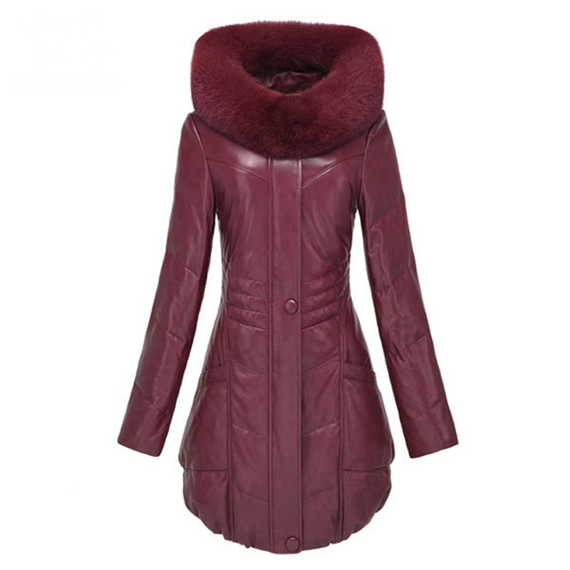 Winter Ladies' Genuine Sheepskin Leather   Down   Parkas   Coat   Fox Fur Hoody Women Fur Outerwear   Coats   VK1406