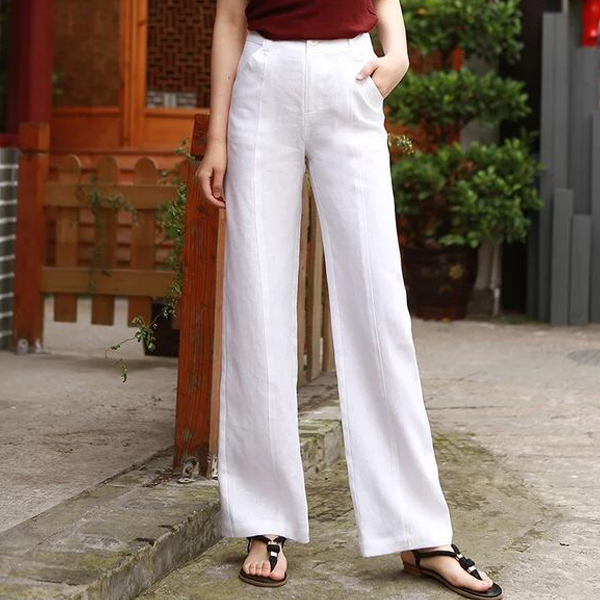 Summer Spring Casual Womens Female Beige Black White Wide Leg Linen Pants , Women Comfortable Korea High Waisted Loose Trousers