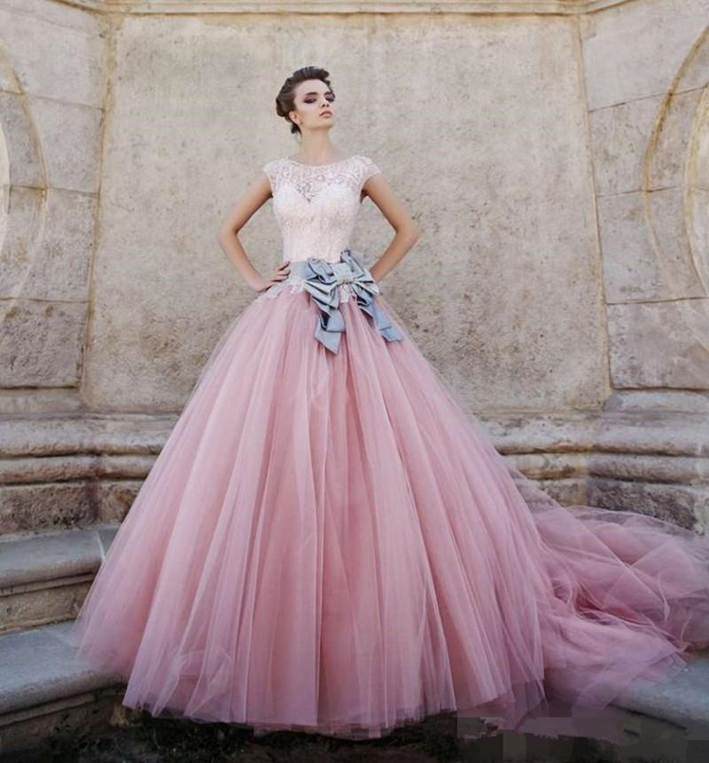 546859695ede Vestido De Noiva vintage Bridal Gown Long Puffy Color Vintage Pink Lace Ball  Gown Rainbow 2018 Dresses