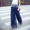 18 Colors Vintage Bohemia Style High Waist Fold Chiffon Wide Leg Culottes Pant Skirt Beach Pant