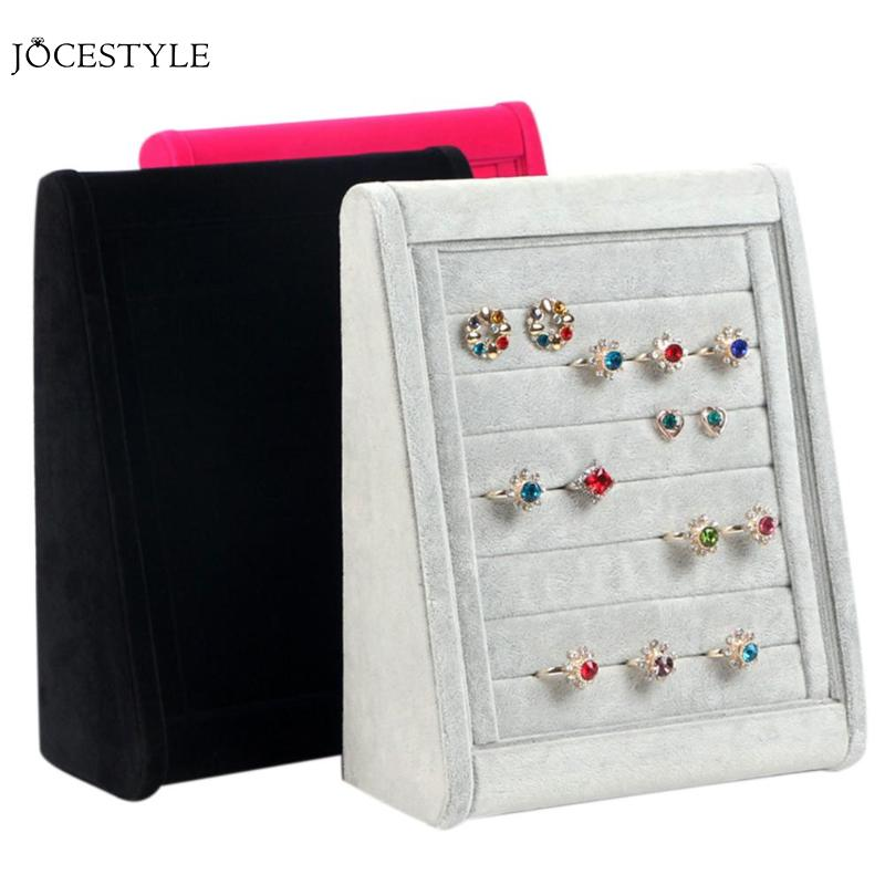 3 Colors Velvet Ring Jewelry Case Box Organizer Earring Ear Stud Jewelry Display Shelf Rings Display Storage Case Accessories