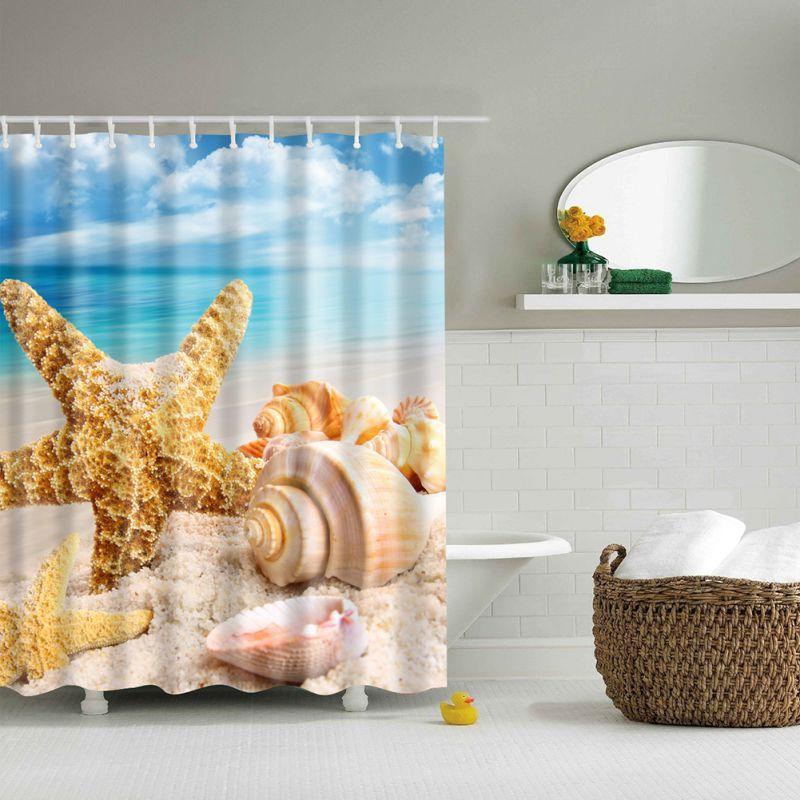Beach Summer Ocean Clouds Sky Sea Nature Fabric Modern Shower Curtain Bathroom Waterproof AA