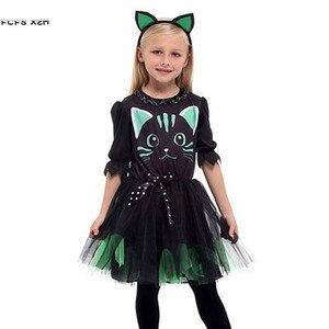 Image 1 - 女の子ハロウィンキティ衣装子供子供猫 Catwomen 動物コスプレカーニバル Purim 仮装舞台パーティードレス