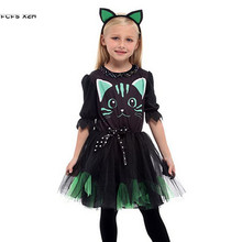 Fantasia infantil de gato, traje de halloween para meninas, crianças, gatinho, animal, cosplay, carnaval, purim, vestido de festa para palco