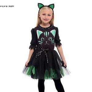 Image 1 - Kızlar cadılar bayramı Kitty kostüm çocuk çocuk kedi catwoman hayvan Cosplay karnaval Purim Masquerade sahne oyun parti elbise