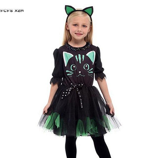 Kızlar cadılar bayramı Kitty kostüm çocuk çocuk kedi catwoman hayvan Cosplay karnaval Purim Masquerade sahne oyun parti elbise