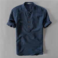 Sky Blue Grey White Navy Flax Hemp Summer Male Short Sleeve Traditional Chinese Collar Linen Shirt