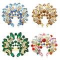 Bluelans Mulheres Do Vintage Broche de Cristal Elegante Flor Floral Presente Lua Strass broches Pin