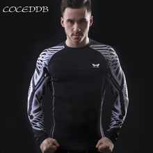 Muscle Men Compression Tight Skin Shirt Long Sleeves 3D Prints MMA Rashguard Fitness Base Layer Weight Lifting Male Tops Wear
