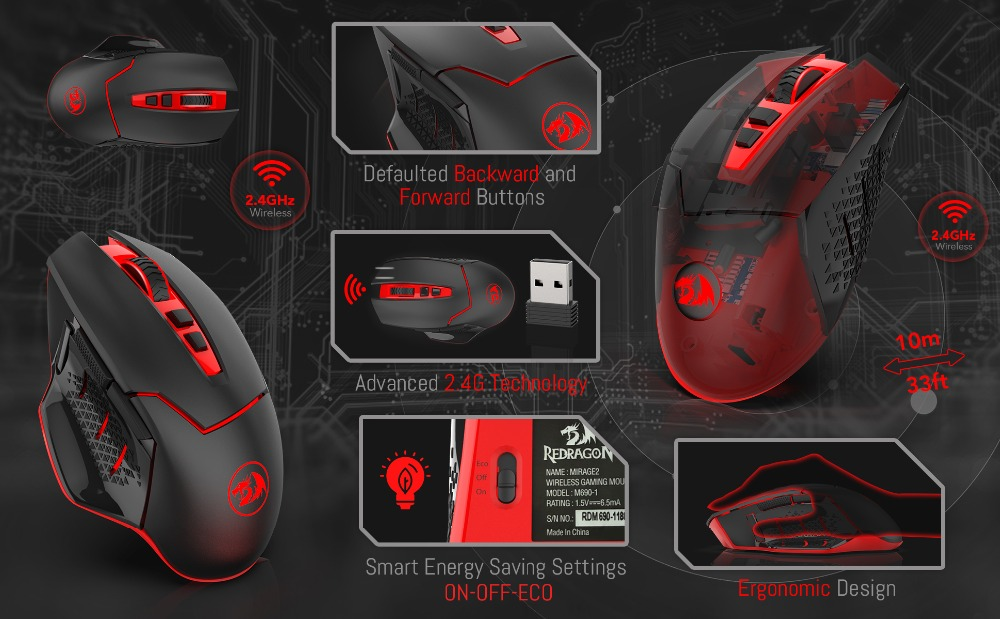 Redragon Professional Wireless Gaming Mouse 8 Buttons Mice for MMO Pro  Gamers PC Computer Laptop