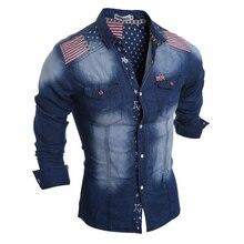 2016 otoño invierno de hombre camisa vaquera adolescente varón de vaquero de rayas Patchwork vaqueros delgados ocasionales de ajuste camisa de ropa de marca