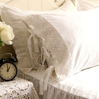 2pcs European type romantic pillow case elegant embroidered pillowcase satin Crochet Lace cotton princess pillow cover no filler