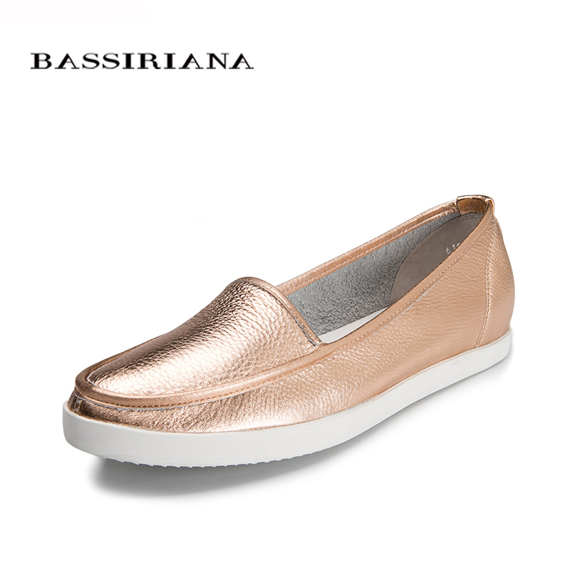 BASSIRIANA - genuine leather women's loafers, shoes woman casual, brand leather shoes, woman casual flats shoes, , free shipping