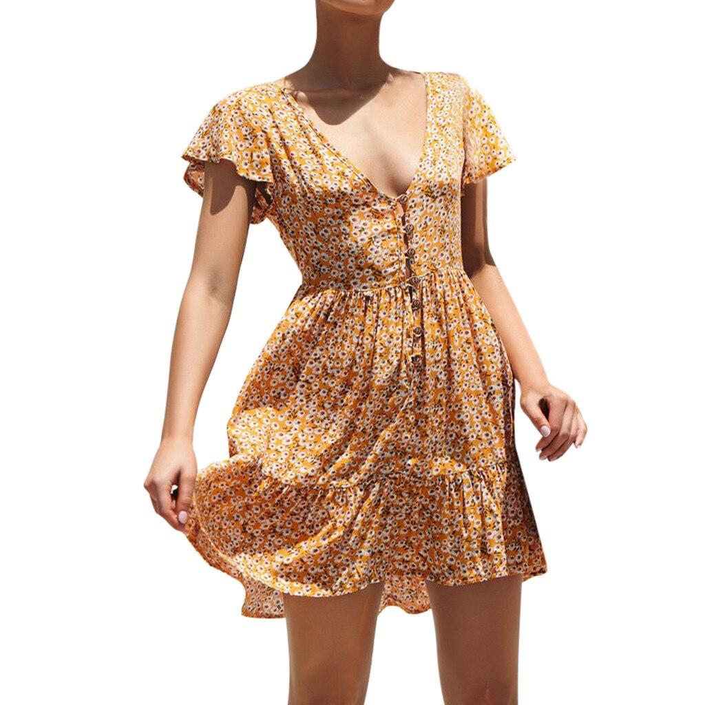 a5812c6535 Feitong vestido verano 2019 Women Mini dress Short Sleeve Boho Flower Print  summer dress plus size