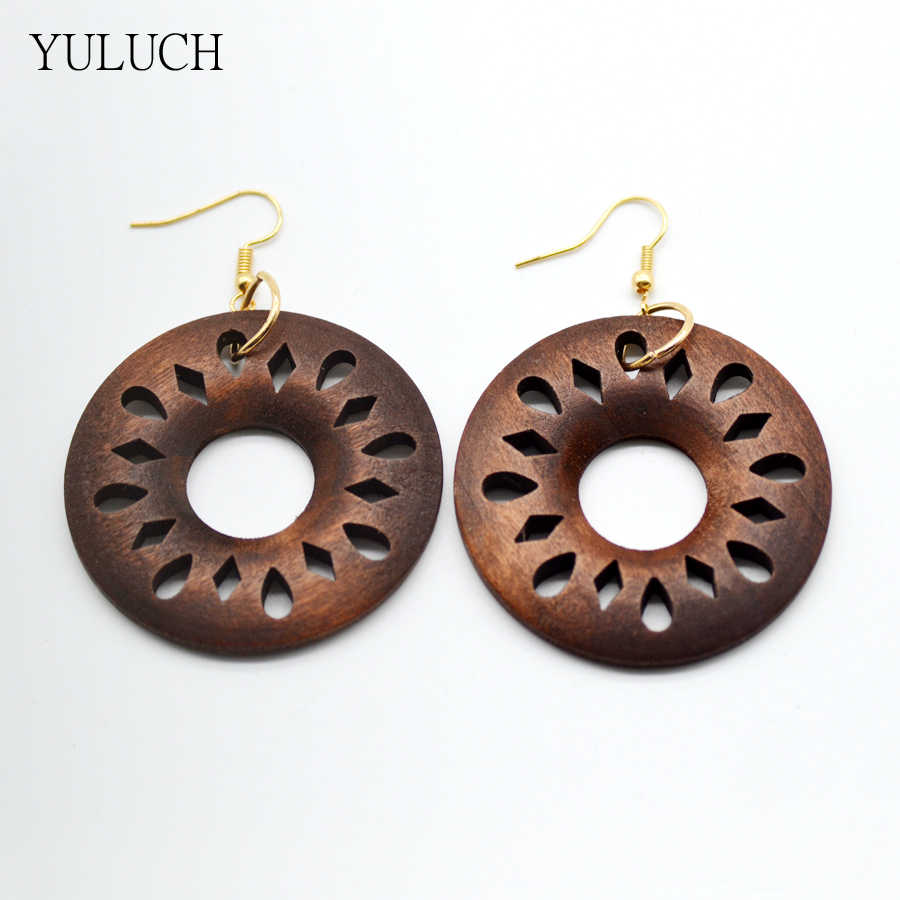 Big Round Personality Hollow Latest African Wood Earrings Jewelry 1 Pair 2017 Good Quality New Design