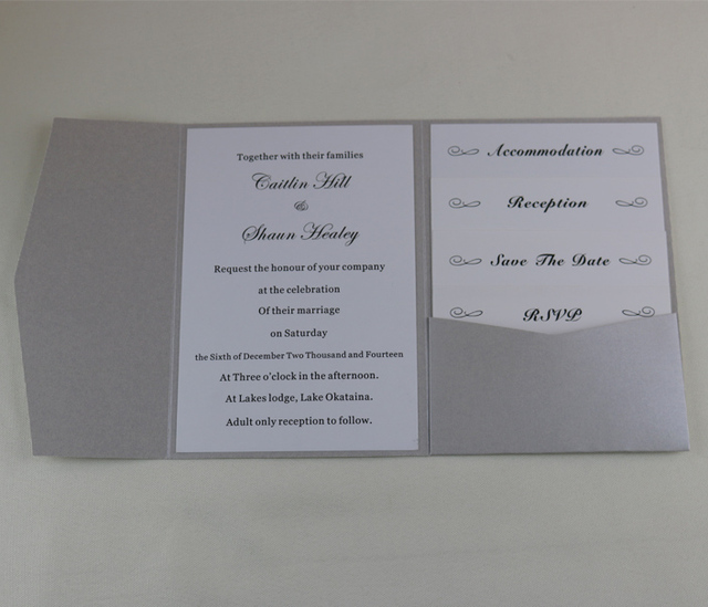 50pcs Personalized Diy Silver Pocket Fold Wedding Invitation Cards With Envelopes