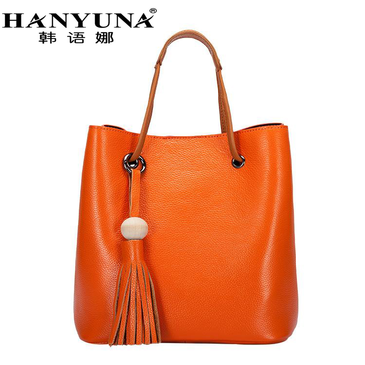 HANYUNA 2017 New Fashion Genuine Leather Female Bucket Totes Model Single Shoulder Crossbody European Lady Bag