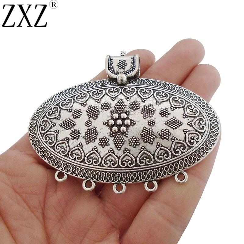 2Pcs Large Antique Silver Ethnic Flower Multi Strand Connectors Necklace Pendant