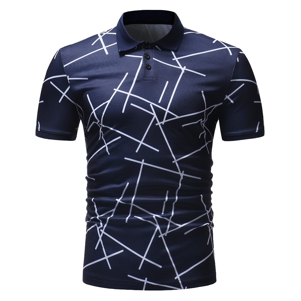 Plus Size Summer Men's Polo Brand New Printed White Line Business Men's Clothing Slim Fit Casual Short Sleeve Men's Polo Shirt
