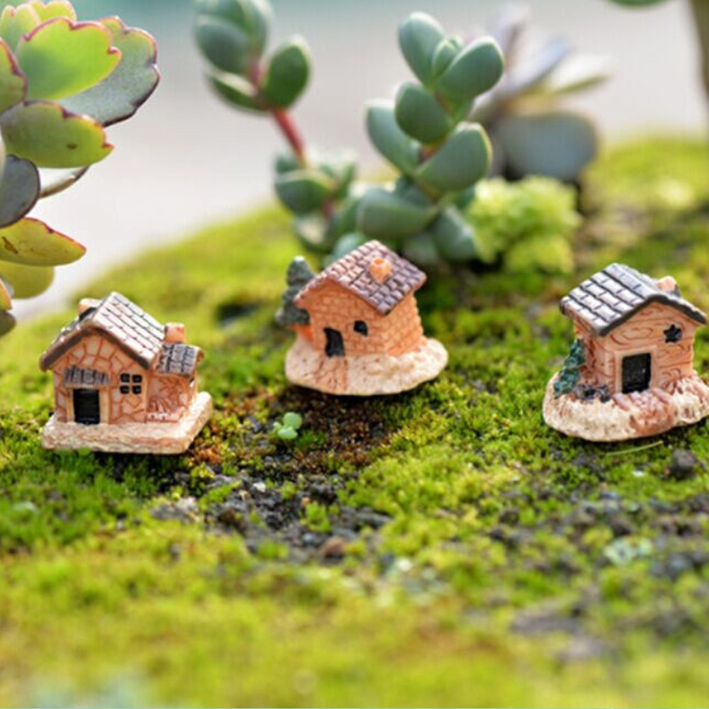 Miniature Resin Castle House Micro Dollhouse Stone House Garden Cottage Decor Craft For Home Garden Decoration 21