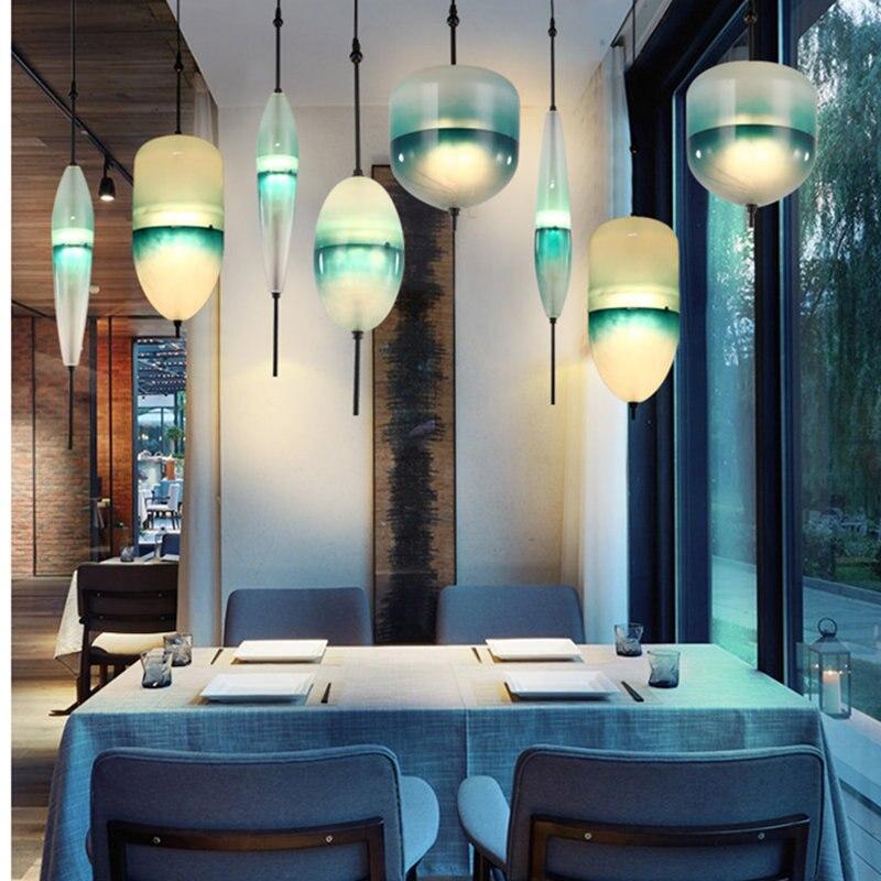 Lámpara nórdica cristal giroscopio LED luces colgantes luminaire suspendu tienda de ropa Hanglamp desván Industrial lámpara Drop ship - 2