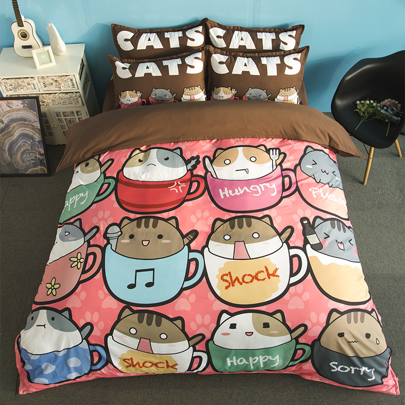 ₪home Textile 3d Cat ⊱ Bedding Bedding Set Lovely Animals