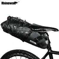 Upgrade RHINOWALK Bicycle Saddle Bag 10L Large Capacity Full Waterproof Road Bike Long Distance Riding Bag Luggage Pannier Black