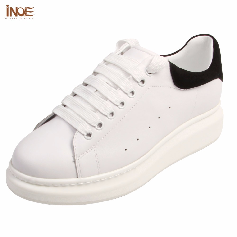 INOE fashion style genuine cow leather man casual spring autumn sneakers shoes for men lace up leisure shoes black white 35-44 disney гравитационный диск