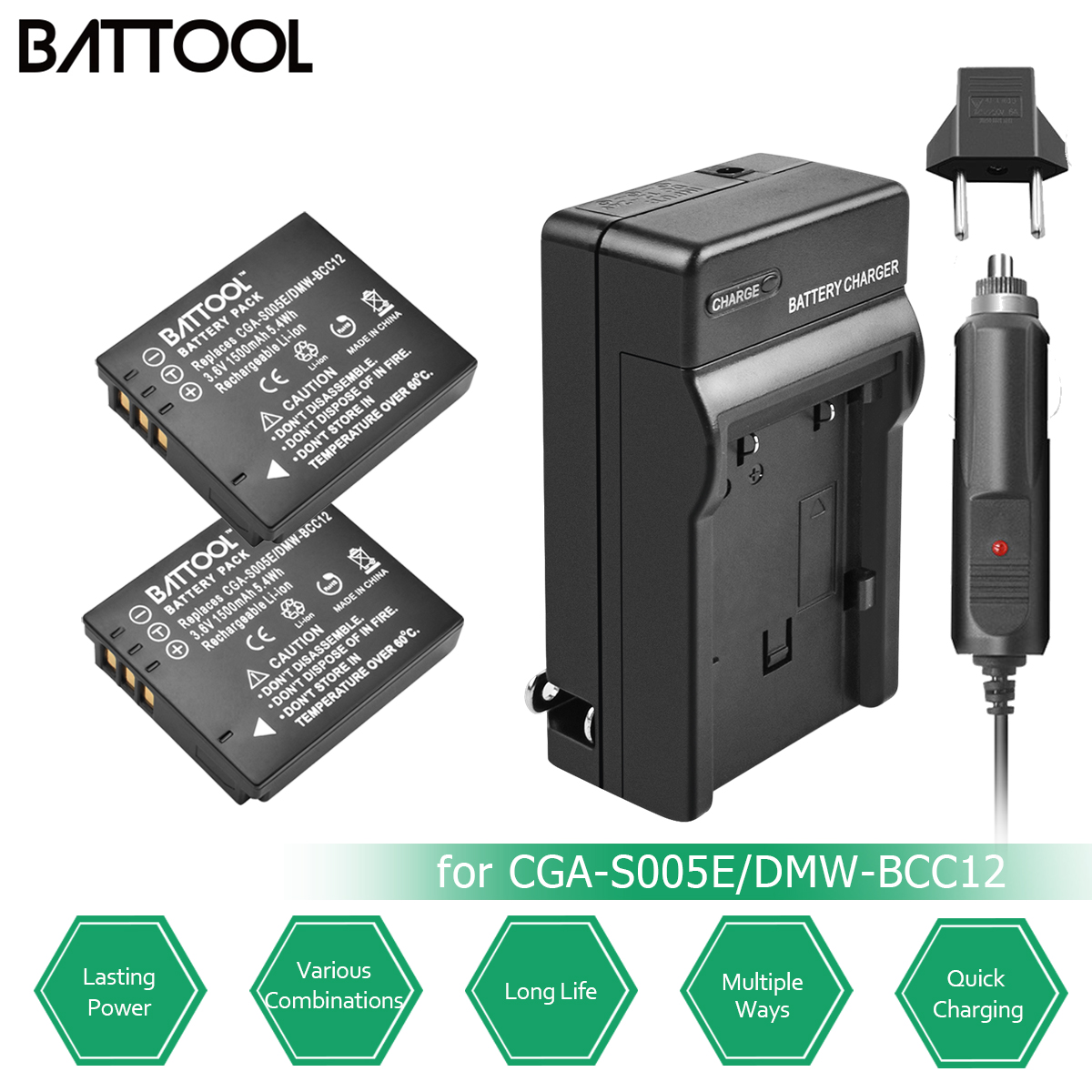 2pc CGA-S005E S005 Rechargeable Battery+Charger Kit for Panasonic <font><b>Lumix</b></font> DMC-LX1 LX2 <font><b>LX3</b></font> DMW-BCC12 For FUJI NP-70 DB60 DLI106 L20 image