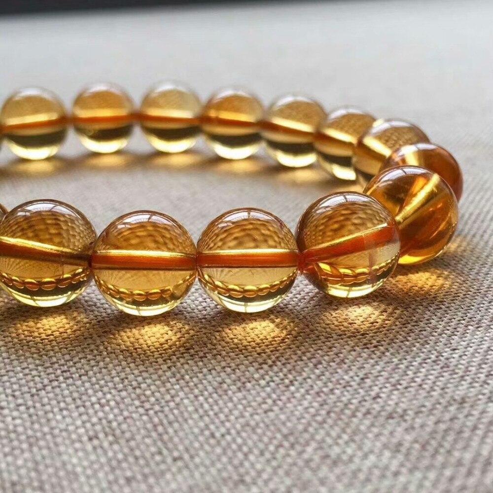 9mm Genuine Natural Yellow Citrine Quartz Crystal Bracelet Round Beads Gemstone Wealthy Stone Stretch Woman ManAAAAAA (2)