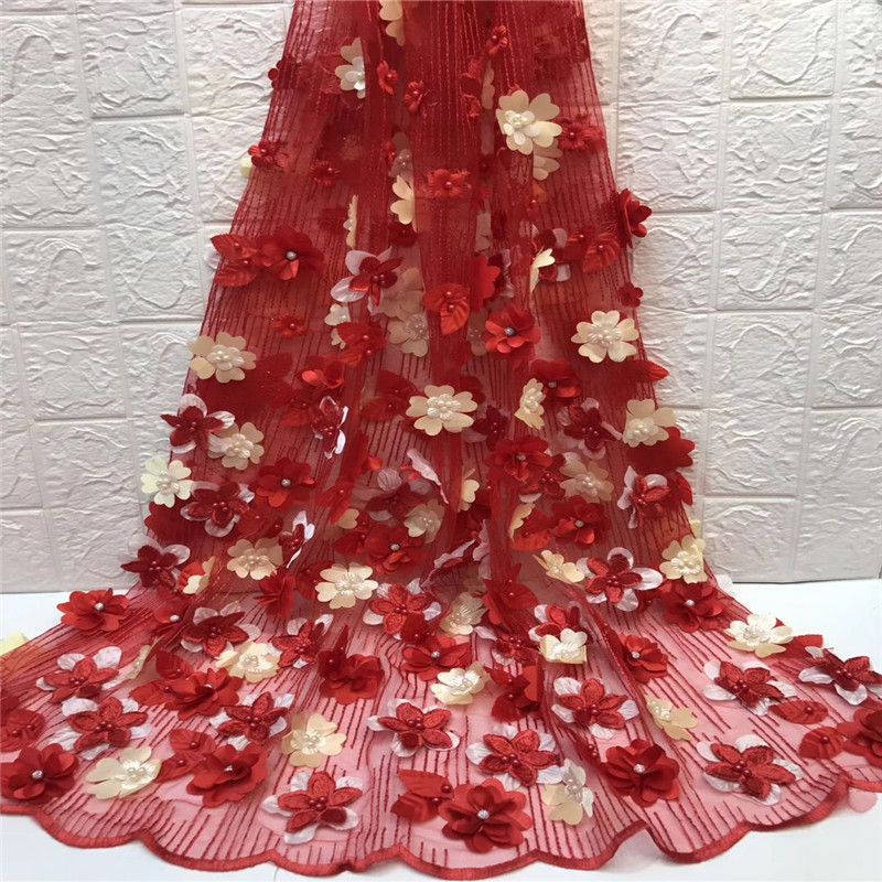 2018 high quality RED French net lace fabric 3D flowers African tulle lace with beads for