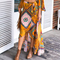 Boho print bow asymmetrical women chiffon skirt long Summer style beach maxi skirt Vintage cotton loose flare skirts new