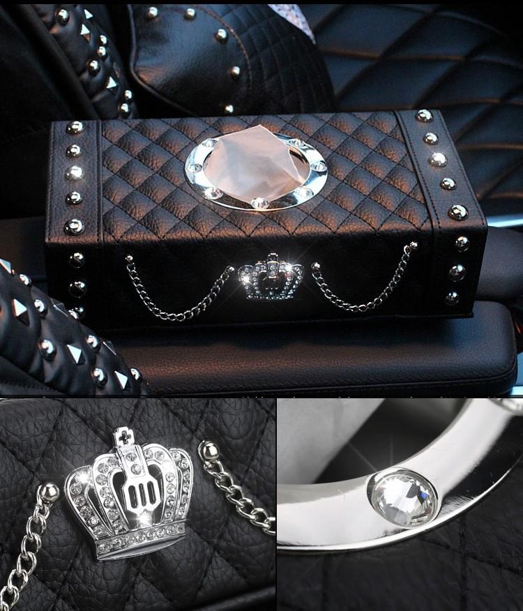 Luxury-Leather-Rivets-Car-Tissue-Paper-Box-Holder-Case-Auto-Interior-Accessories-Black-l4