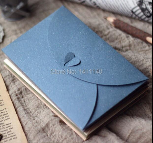 100pcs/lot Heart Shape Paper Gift Envelope Wedding Invitation Card