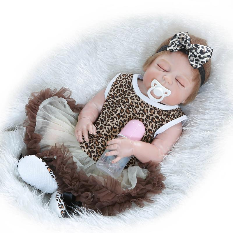 Nicery 22inch 55cm Magnetic Mouth Reborn Baby Doll Hard Silicone Lifelike Toy Gift for Children Christmas Leopard Gray Dress Toy super cute plush toy dog doll as a christmas gift for children s home decoration 20