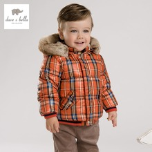DB3388 dave bella infantil inverno bebê casaco menino jaqueta acolchoada meninos outerwear meninos grade xadrez meninos casaco jaqueta moda
