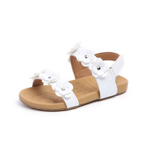 AFDSWG PU summer kids pink flowers leather sandals white beach shoes sandal princess stud