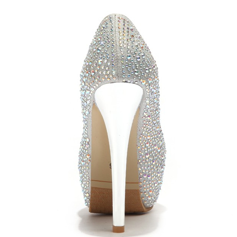 Mince 48 Strass Femmes Chaussures Plate on Haute Grande Slip Talon De Décoration Talons pink Gold Mujer Sexy Printemps red forme Taille silver 33 automne Mariage Zapatos ZwqzZrI