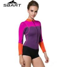 цена на SBART 2MM Neoprene Women Wetsuit One Piece Swimsuit Long Sleeve Diving Suit Surfing Wetsuit Dive Surf Wet Suit
